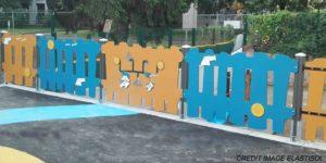 Extebois aire de jeux crèche La Fontaine à Antony thème corsaire cloture