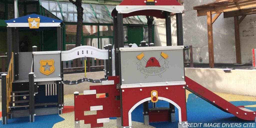 Extebois présentation de la Gamme de structures de jeux Cityland police et pompiers