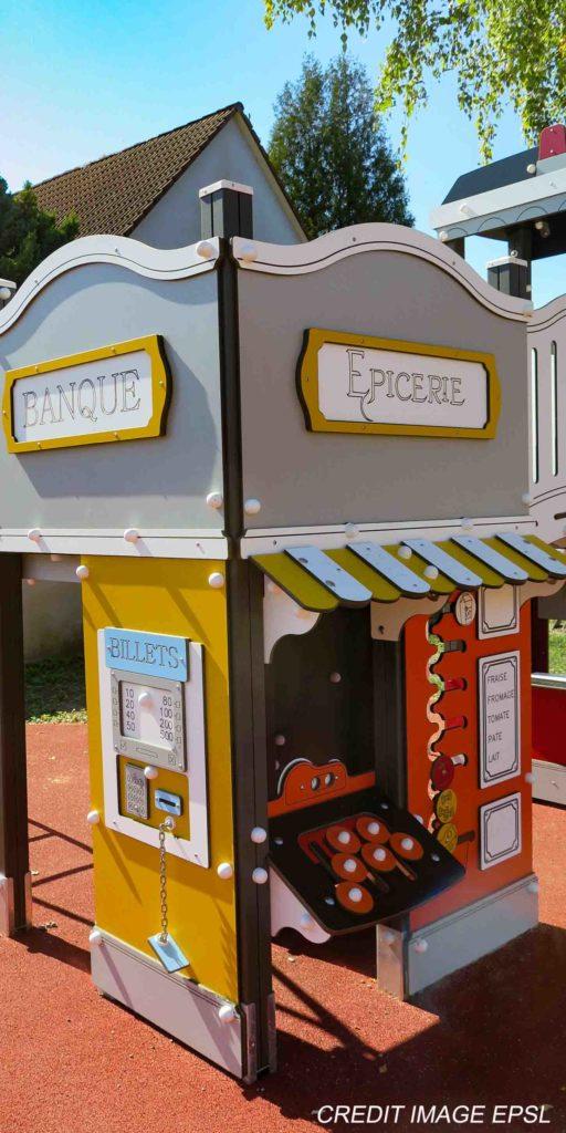 Extebois présentation de la Gamme de structures de jeux Cityland banque et épicerie